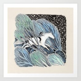 White Gallop Art Print