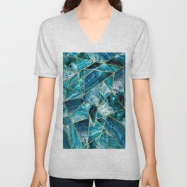 Turquoise Navy Blue Agate Black Gold Geometric Triangles Unisex V-Neck
