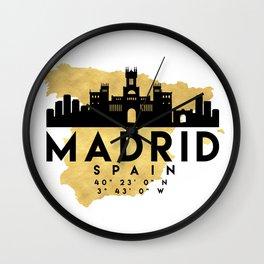 MADRID SPAIN SILHOUETTE SKYLINE MAP ART Wall Clock