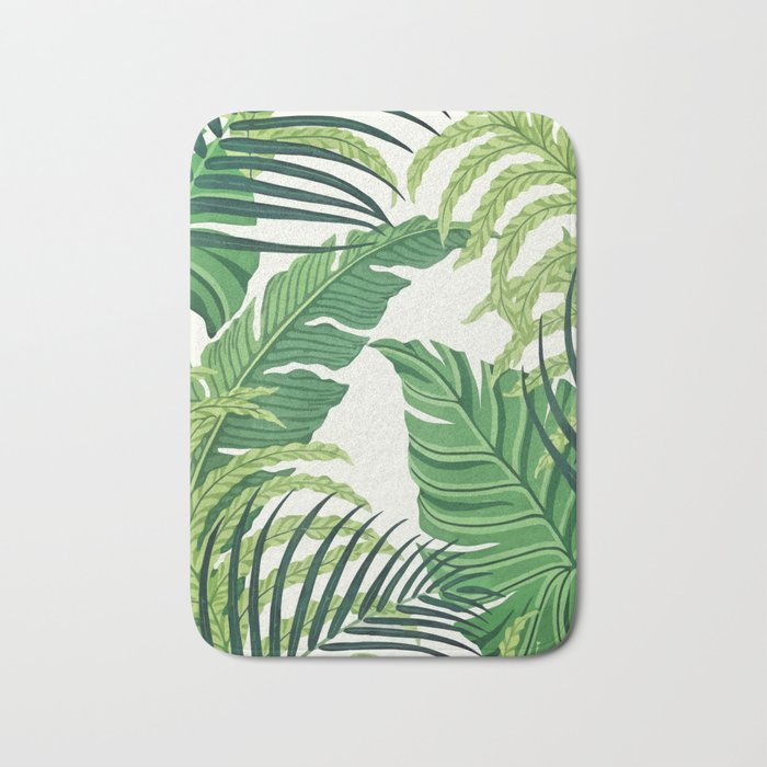 Green tropical leaves II Bath Mat