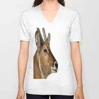 elk V-neck T-shirts featuring Elk by Raymond Earley