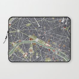 Paris city map engraving Laptop Sleeve