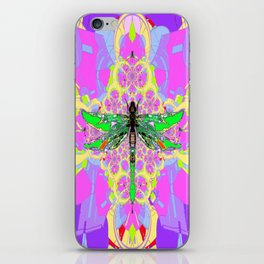 Emerald Green Dragonfly Pink Abstract iPhone Skin