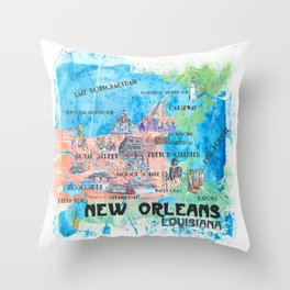 New Orleans Louisiana Illustrated Map with Main Roads Landmarks and Highlights Throw Pillow