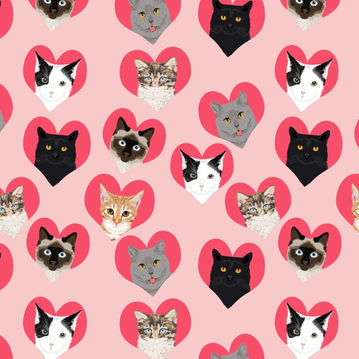 Cute cat collection hearts love valentines day gift for cat lady unique kitten funny illustration  Leggings