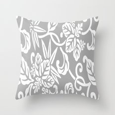 Gray Japanese Floral Throw Pillow