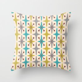 Mid Century Modern Abstract Star Pattern 441 Gray Brown Turquoise Olive Green Throw Pillow