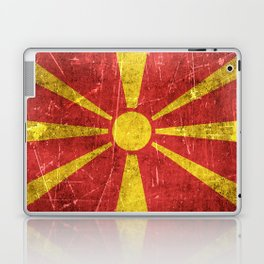 Vintage Aged and Scratched Macedonian Flag Laptop & iPad Skin