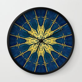Navy Blue and Brushed Gold Flower Wall Clock