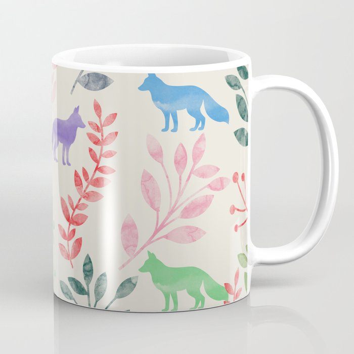 Watercolor Floral & Fox III Coffee Mug