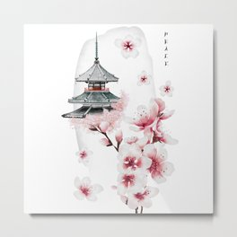 Japanese temple and cherry. Peace Metal Print