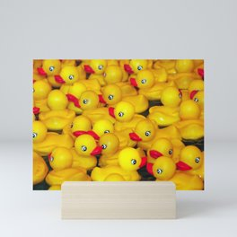 Cute yellow rubber ducks Mini Art Print
