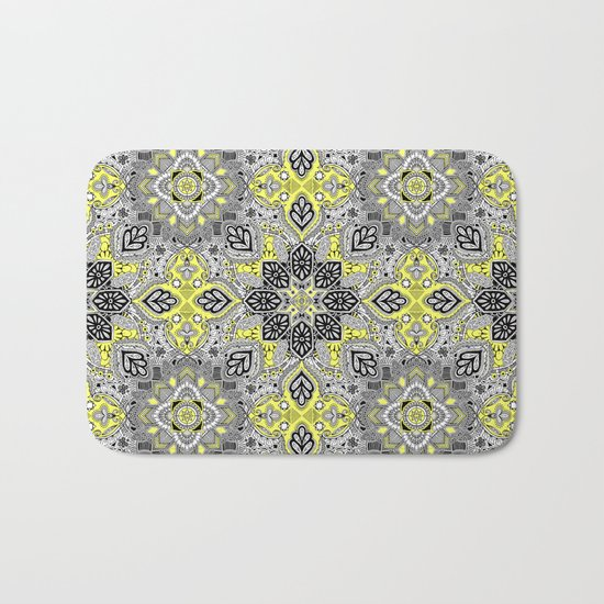 Boho Sunshine Medallion Pattern Bath Mat