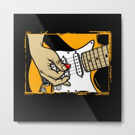Playing Electric Guitars with a red plectrum Metal Print