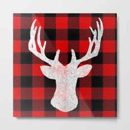 Deer Flannel Metal Print