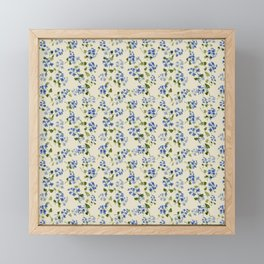 Beautiful bright floral seamless pattern with forget-me-not on beige background Framed Mini Art Print