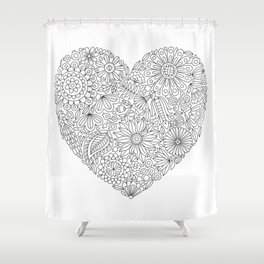 Flowers Heart Coloring Page, Flourish and Bloom Shower Curtain