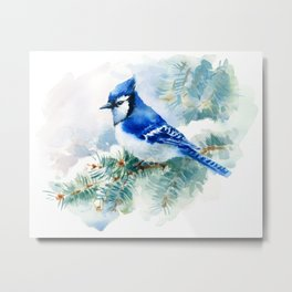 Watercolor Blue Jay Metal Print
