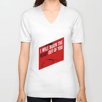 moriarty V-neck T-shirts featuring SHERLOCK Moriarty Print by Lauren Vaughn