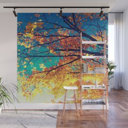 AutuMN Golden Leaves Teal Sky Wall Mural