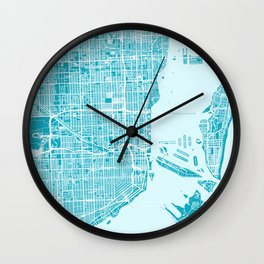 Miami Map | Blue & Cyan | More Colors, Review My Collections Wall Clock