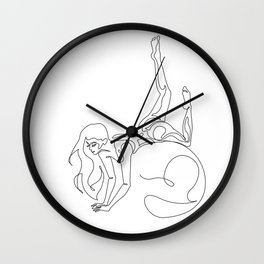 Gymnast girl in one line style Wall Clock
