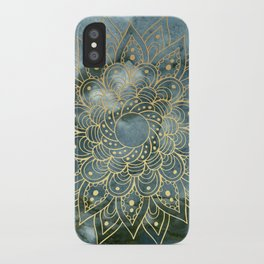MANDALA ON BLUE MARBLE iPhone Case