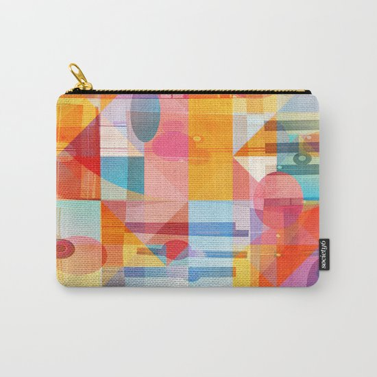 Whimsical Sunny Geometry Carry-All Pouch