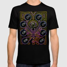 DJ Octopus neon v1 SMALL Black Mens Fitted Tee