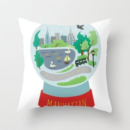 Manhattan souvenir, snow globe, NYC, New York CIty Throw Pillow