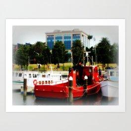 Little red tug Boat Art Print