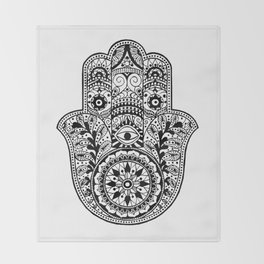 Black and White Hamsa Hand Throw Blanket