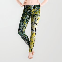 Yellow and Green Spotted Abstract Pigmented Tree Bark Print Leggings
