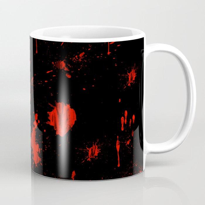 Red Paint / Blood splatter on black Kaffeebecher