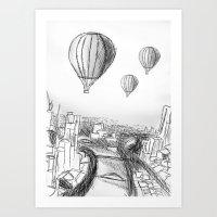hot air balloon sketch Art Print