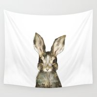 bunny Wall Tapestries featuring Little Rabbit by Amy Hamilton
