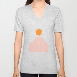 Mid Century Modern Geometric 47 in Coral Orange (Rainbow and Sun Abstraction) Unisex V-Neck