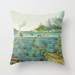 Vintage Pictorial World Ecosystem Map (1893) Throw Pillow