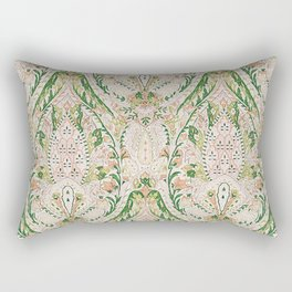 Green Pink Leaf Flower Paisley Rectangular Pillow