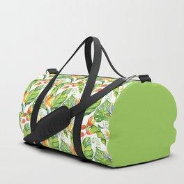Hawaiian Tropical Leaves and Flowers Duffle Bag