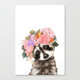 Baby Raccoon with Flowers Crown Canvas Print
