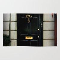 221b Area & Throw Rugs featuring 221B Baker Street BBC Sherlock by Katikut