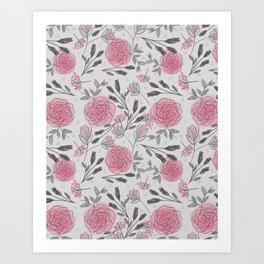 Soft and Sketchy Peonies Art Print