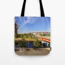 West Ham Olympic Stadium And The Arcelormittal Orbit  Tote Bag