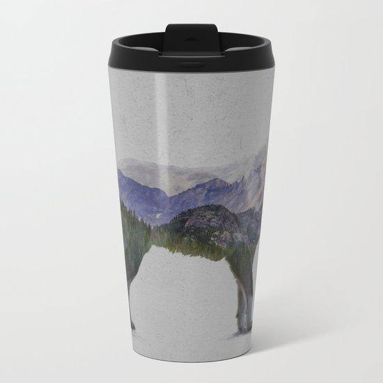 The Rocky Mountain Gray Wolf Metal Travel Mug