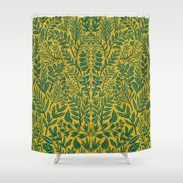 Green Botanical Damask Shower Curtain