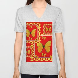 YELLOW BUTTERFLIES RED-YELLOW  PATTERNED  ART Unisex V-Neck