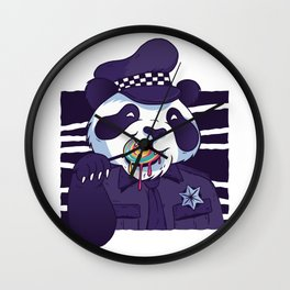 Giant Panda Bear Police Officer Wall Clock