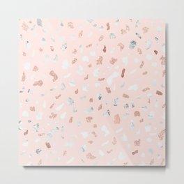 Modern mozaic terrazzo marble rose gold glitter blush pink Metal Print