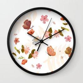 Butterfly & Flowers Wall Clock